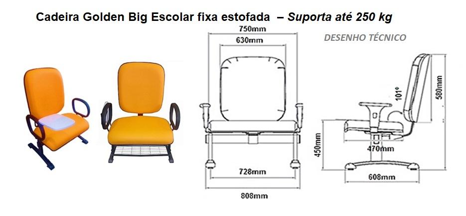 desenho técnico da cadeira de obeso escolar fixa ate 250 kilos
